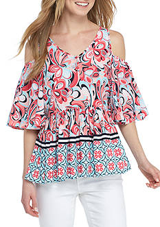 Crown & Ivy™ Woven Cold Shoulder Baby Doll Top