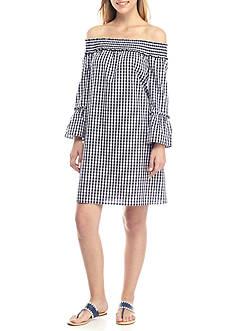 Crown & Ivy™ Gingham Off-The-Shoulder Dress