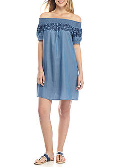 Crown & Ivy™ Chambray Smocked Off-The-Shoulder Dress