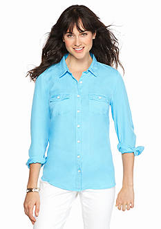 crown & ivy™ beach Petite Size Colored Shirt
