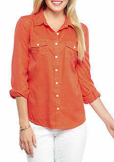 Crown & Ivy™ Petite Colored Tencel Shirt
