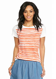 crown & ivy™ Petite Stripe Crew Neck Slub Tee