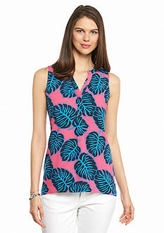 crown & ivy™ Petite Sleeveless Leaf Peasant Top