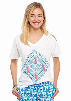 crown & ivy™ beach Petite Tile Print Cold Shoulder Tee