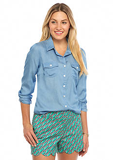 Crown & Ivy™ Petite Chambray Shirt