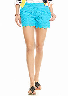 crown & ivy™ Petite Eyelet Scallop Short