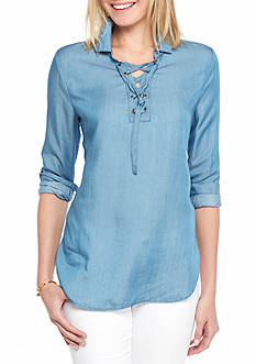 Crown & Ivy™ Petite Size Tencil Lace-Up Tunic