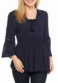 Crown & Ivy™ Petite Size Lace-Up Crochet Top