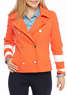 crown & ivy™ Petite Size Colorblock Sleeve Jacket