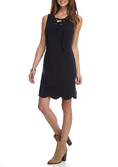 Crown & Ivy™ Petite Solid Lace-up Shift Dress