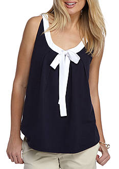 Crown & Ivy™ Petite Bow Neck Top