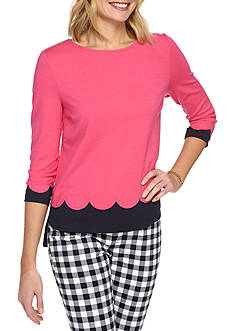 Crown & Ivy™ Petite Size Three Quarter Sleeve Ponte Top