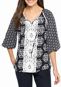 Crown & Ivy™ Petite Size Crochet Bib Peasant Top