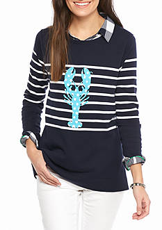 crown & ivy™ Petite Size Intarsia Sweater