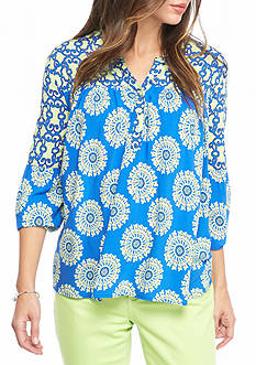 Crown & Ivy™ Petite Size Mixed Print Peasant Top