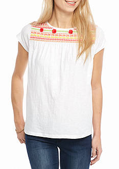 Crown & Ivy™ Petite Size Short Sleeve Embroidered Knit Top