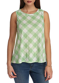 Crown & Ivy™ Petite Check Print Knit Top