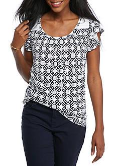 Crown & Ivy™ Petite Flutter Sleeve Knit Top
