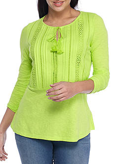 crown & ivy™ Petite Size Eyelet Trim Knit Top