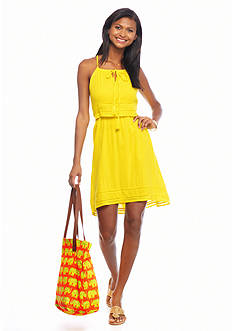 crown & ivy™ Petite Gauze Halter Dress