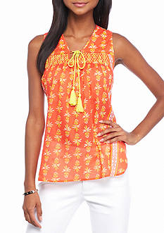 crown & ivy™ beach Petite Smock Neck Printed Top