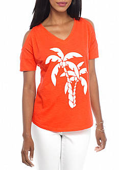 crown & ivy™ beach Petite Palm Tree Cold Shoulder Tee