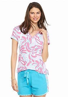 crown & ivy™ beach Petite Lobster Print Hooded Pullover