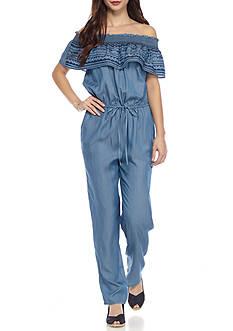 Crown & Ivy™ Petite Size Off The Shoulder Tencel Jumpsuit