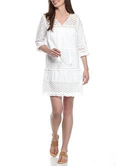 Crown & Ivy™ Petite Woven Tonal Dot Dress