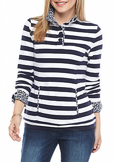 crown & ivy™ Petite Stripe Mock Button Neck Sweater