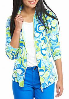 crown & ivy™ beach Petite Printed Full Zip Sweatshirt