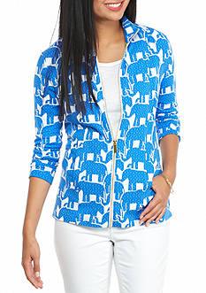 crown & ivy™ beach Petite Printed Full Zip Sweater