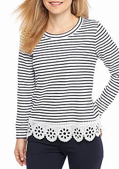 Crown & Ivy™ Petite Size Embroidered Hem Sweatshirt