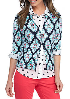 Crown & Ivy™ Petite Medallion Printed Cardigan