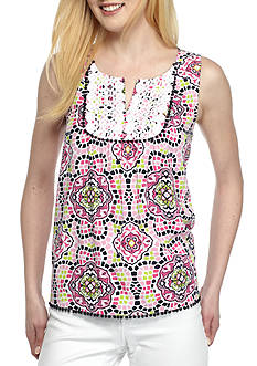 Crown & Ivy™ Petite Sleeveless Split Neck Top