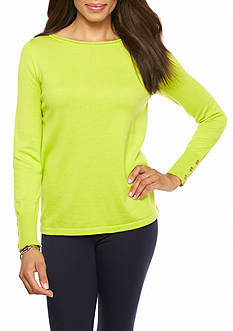 crown & ivy™ Petite Solid Zip Back Sweater
