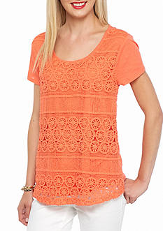 crown & ivy™ Petite Crochet Front Top