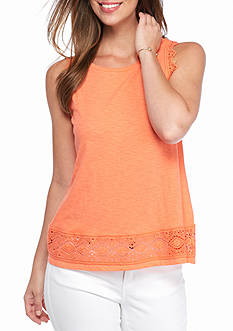 crown & ivy™ Petite Crochet Trim Tank
