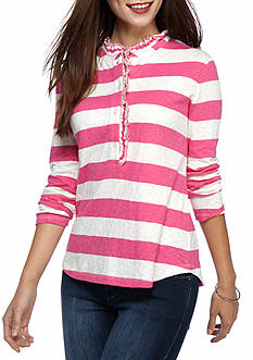 crown & ivy™ Petite Ruffle Henley Top