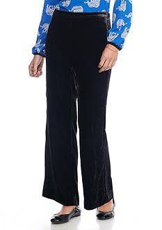 crown & ivy™ Petite Solid Velvet Flare Pants