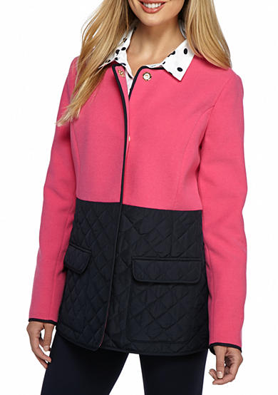 crown & ivy™ Petite Size Quilted Bottom Jacket