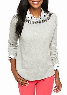 crown & ivy™ Petite Textured Gingham Sweatshirt