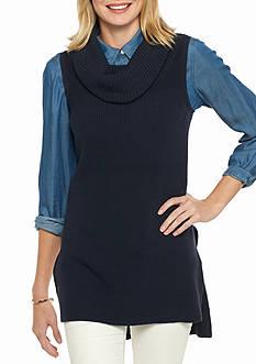 Crown & Ivy™ Petite Size Cowl Neck Extreme Vest