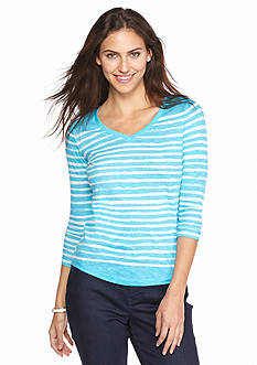 crown & ivy™ Petite Stripe V Neck Tee