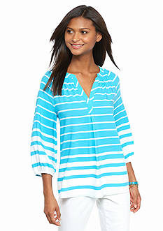 crown & ivy™ Petite Stripe Peasant Top