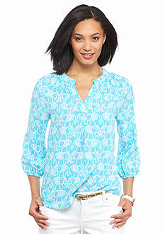 crown & ivy™ Petite Elephant Carnival Peasant Top