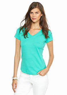crown & ivy™ Petite Solid V-Neck Tee