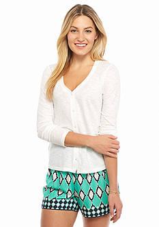 crown & ivy™ Petite Slub Knit Cardigan