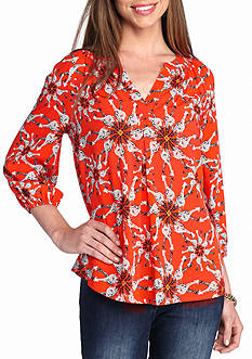 Crown & Ivy™ Petite Size Three Quarter Sleeve Peasant Top