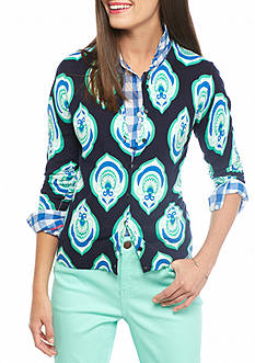 crown & ivy™ Petite Algier Medallion Print Cardigan